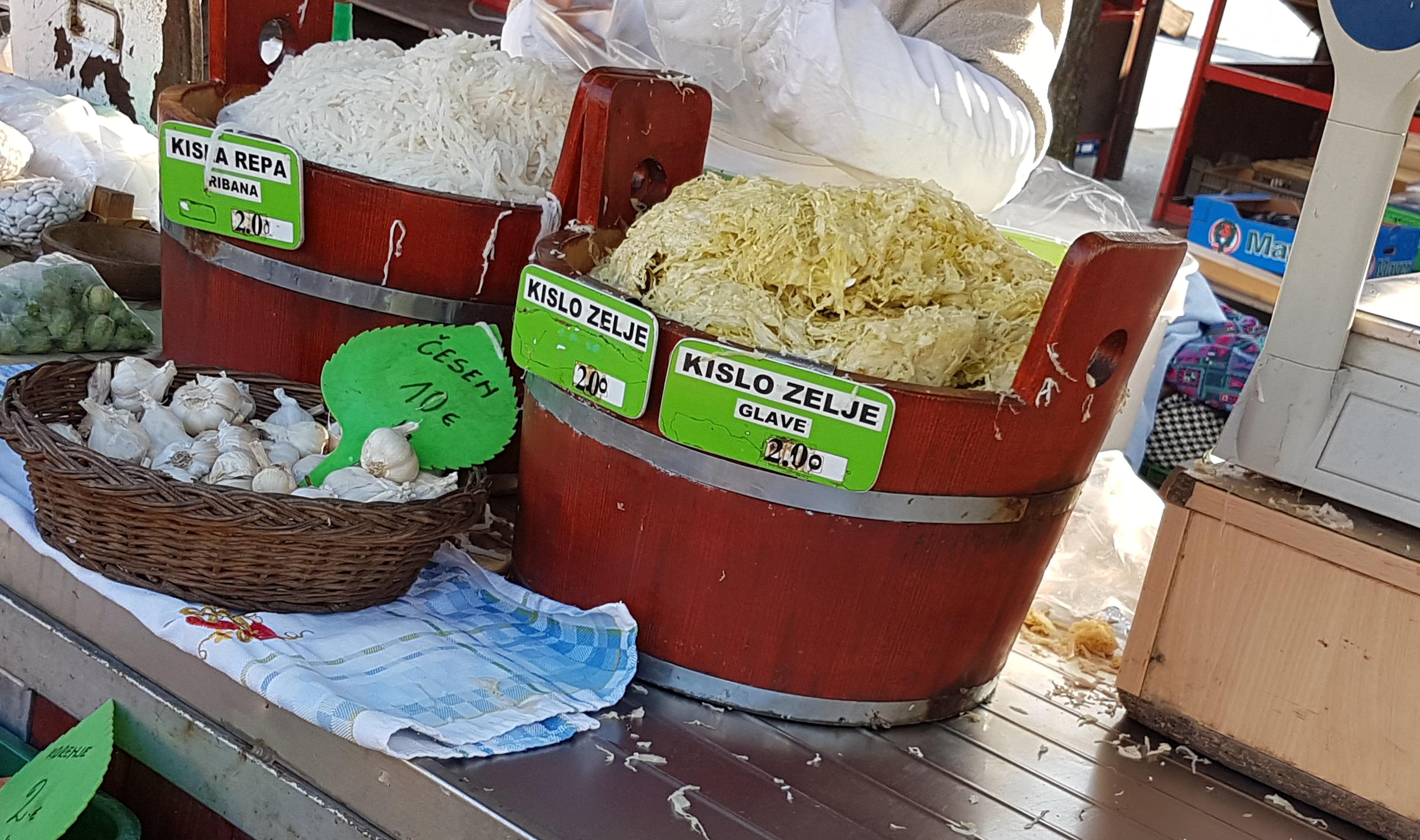 Selling sauerkraut on market