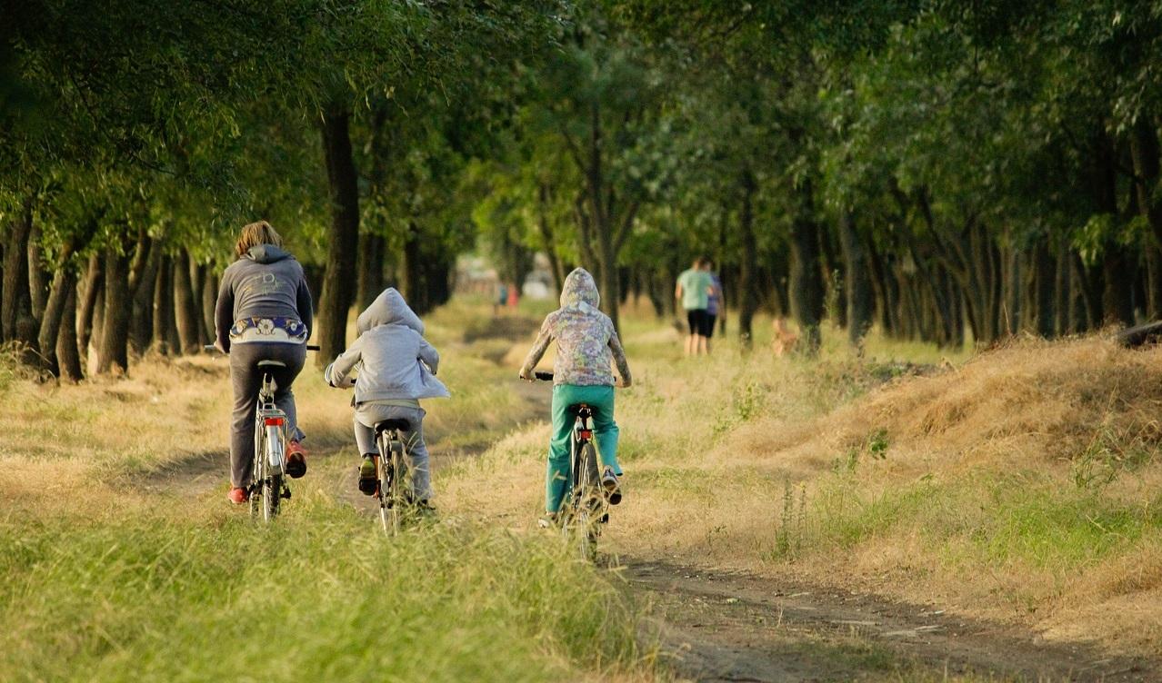Family riding bike