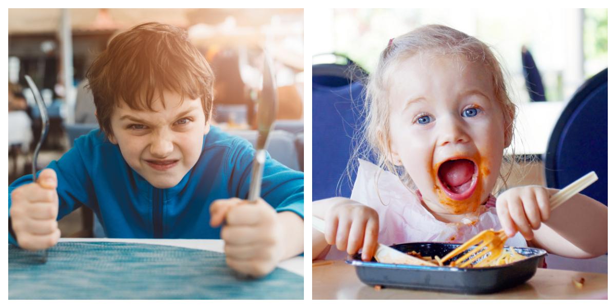 COLLAGE, CHILDREN, EATING